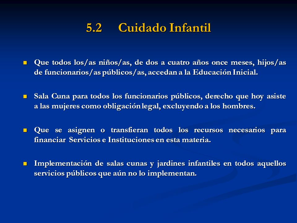 5.2 Cuidado Infantil