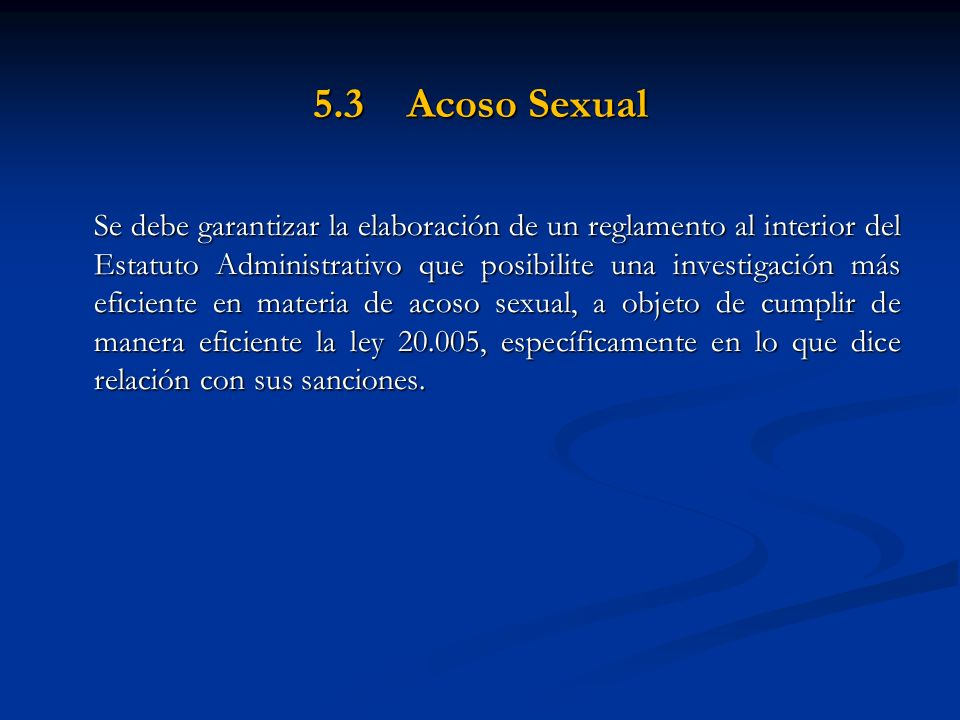 5.3 Acoso Sexual