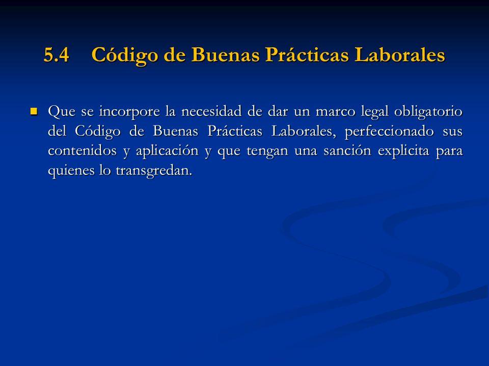 5.4 Código de Buenas Prácticas Laborales