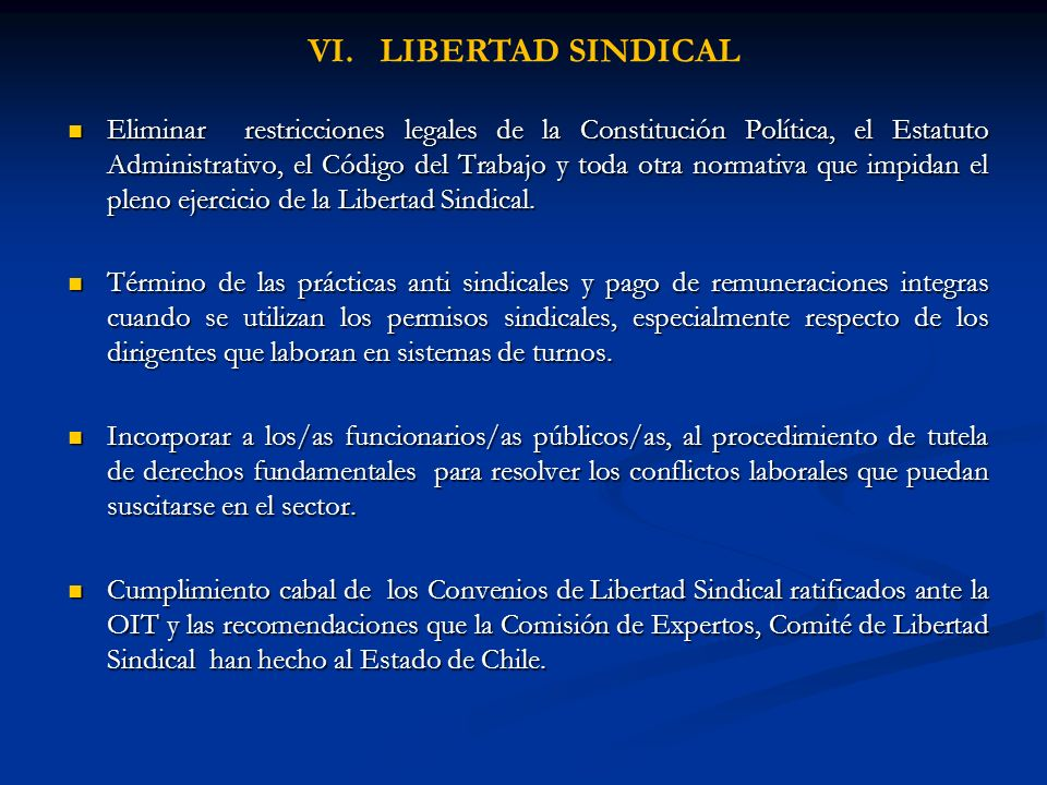 VI. LIBERTAD SINDICAL