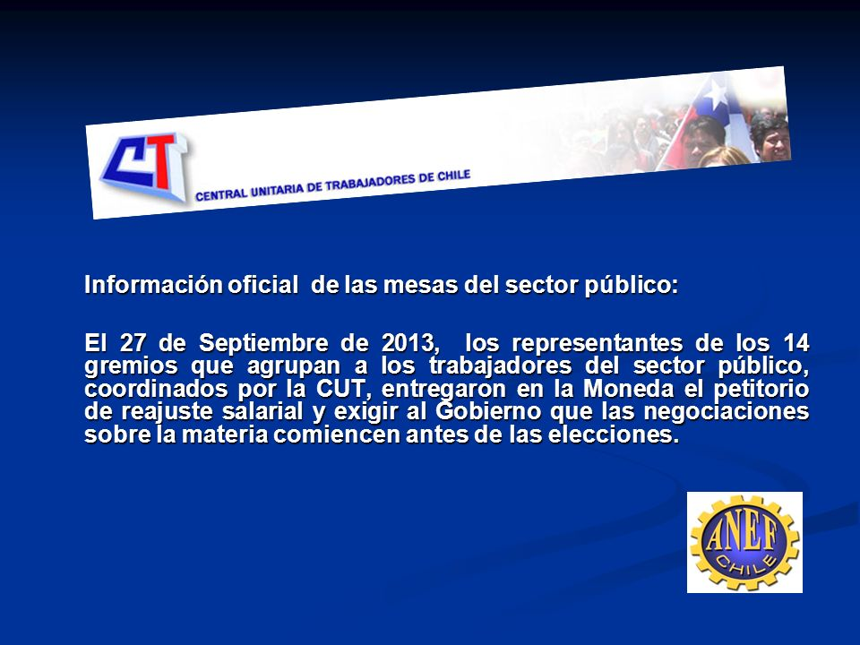 Información oficial de las mesas del sector público: