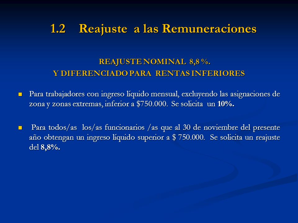 1.2 Reajuste a las Remuneraciones