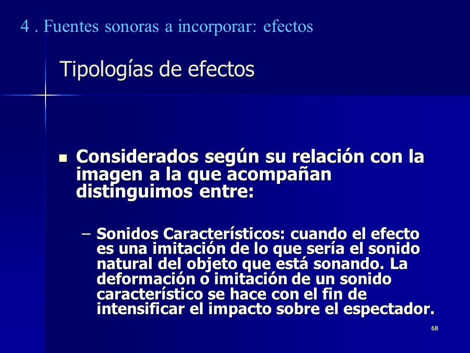 Tipologías de efectos 4 . Fuentes sonoras a incorporar: efectos