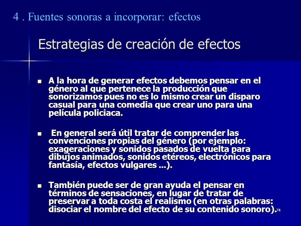 Estrategias de creación de efectos