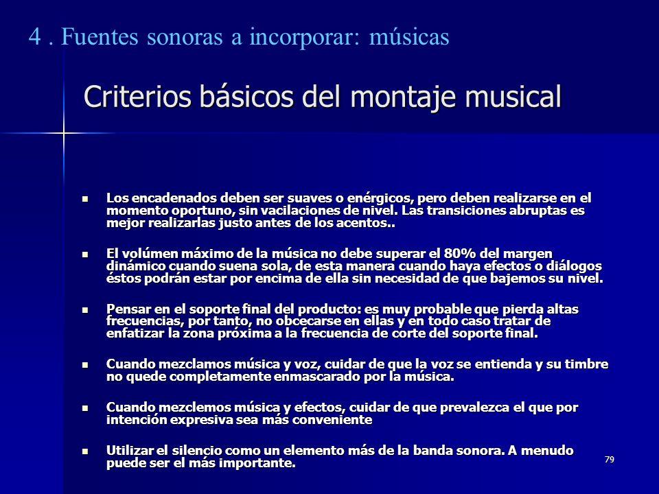Criterios básicos del montaje musical