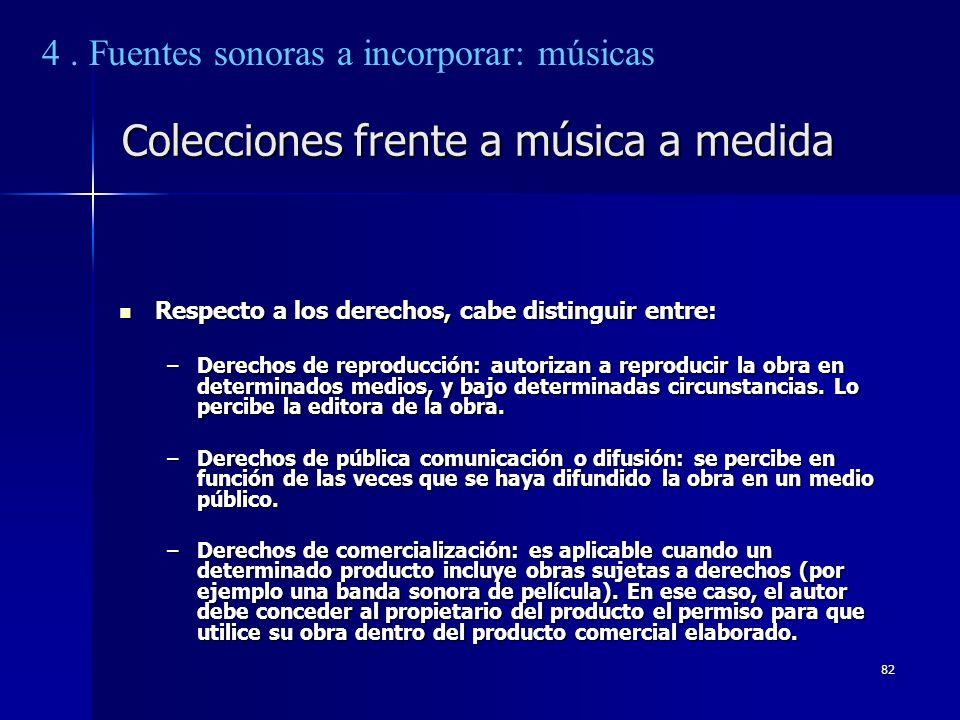 Colecciones frente a música a medida