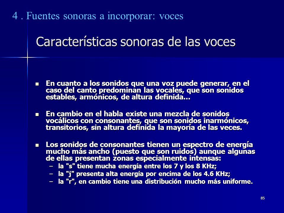 Características sonoras de las voces