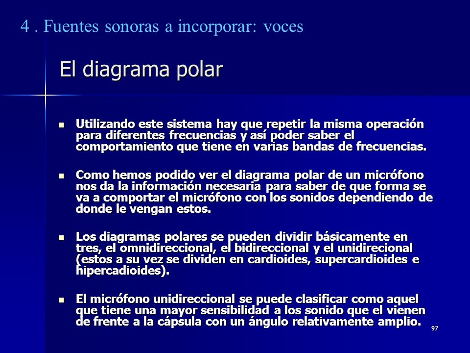 El diagrama polar 4 . Fuentes sonoras a incorporar: voces