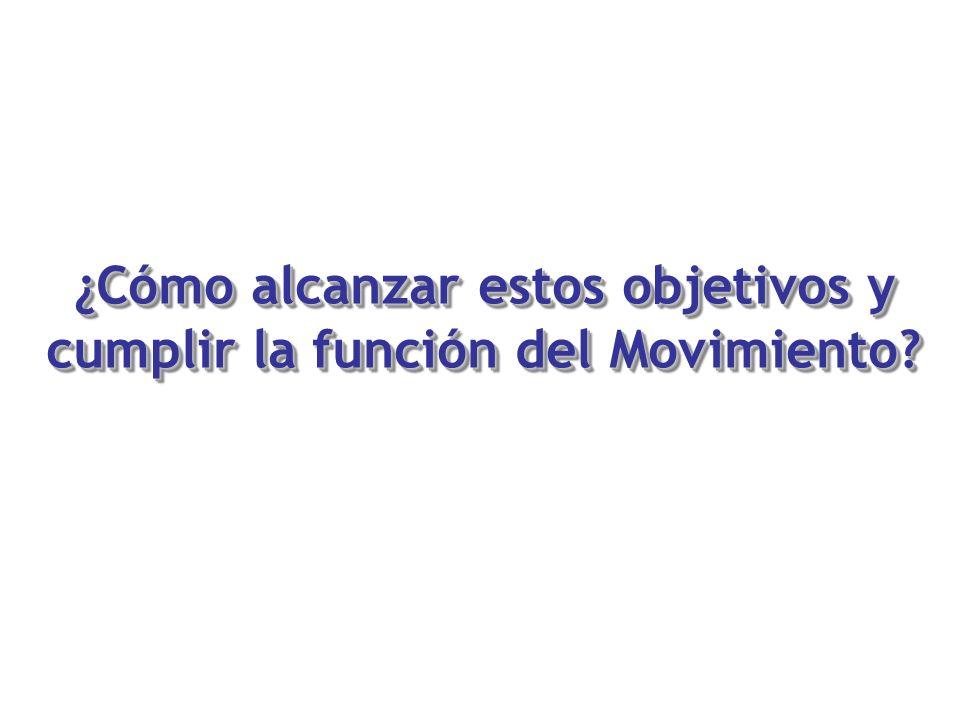¿Cómo alcanzar estos objetivos y cumplir la función del Movimiento