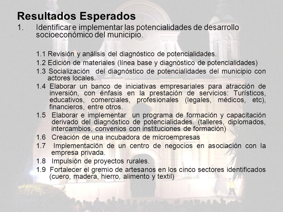 Resultados Esperados Identificar e implementar las potencialidades de desarrollo socioeconómico del municipio.