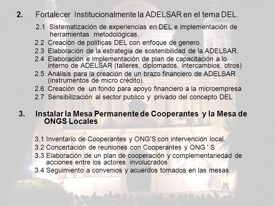 2. Fortalecer Institucionalmente la ADELSAR en el tema DEL.