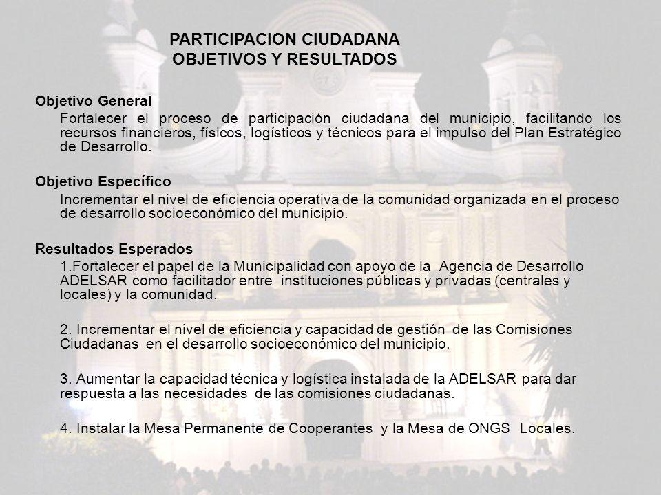 PARTICIPACION CIUDADANA OBJETIVOS Y RESULTADOS
