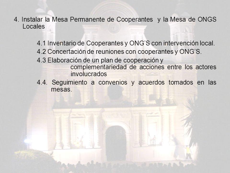 4. Instalar la Mesa Permanente de Cooperantes y la Mesa de ONGS Locales