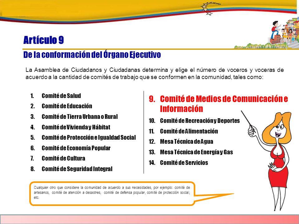Artículo 9 De la conformación del Órgano Ejecutivo