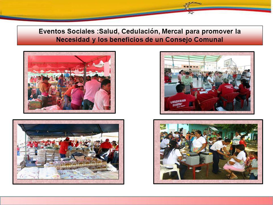 Eventos Sociales :Salud, Cedulación, Mercal para promover la