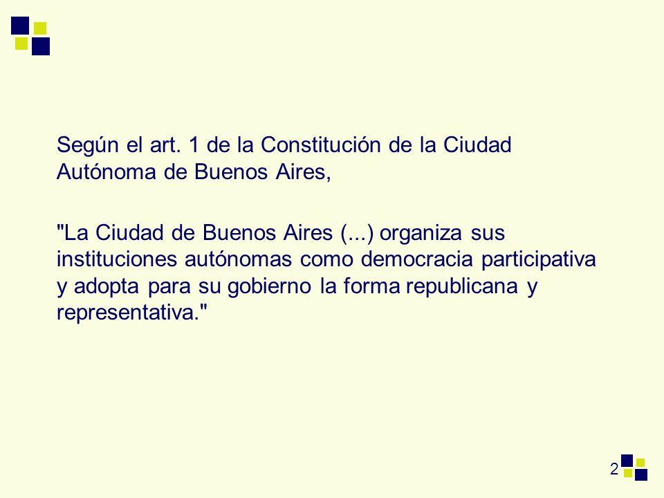 Según el art. 1 de la Constitución de la Ciudad Autónoma de Buenos Aires,