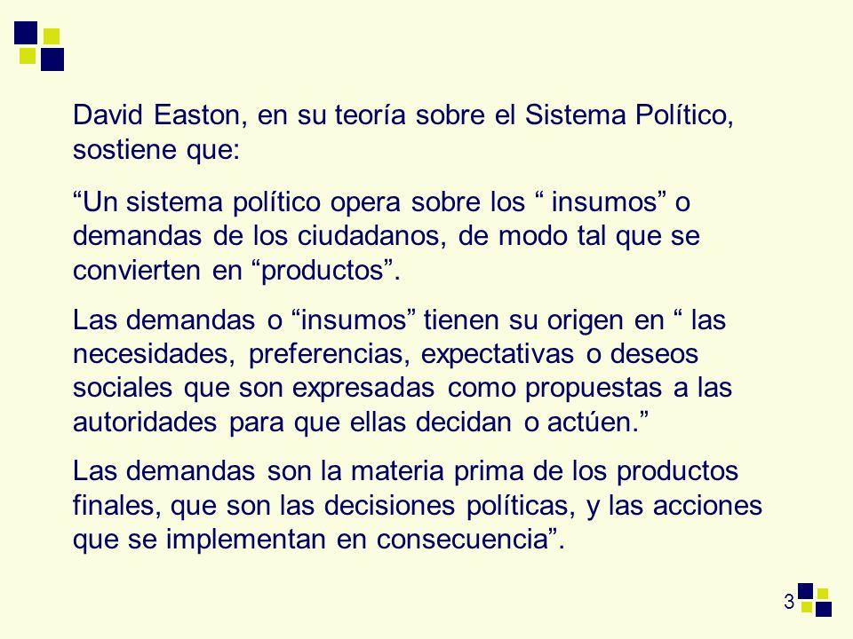 David Easton, en su teoría sobre el Sistema Político, sostiene que: