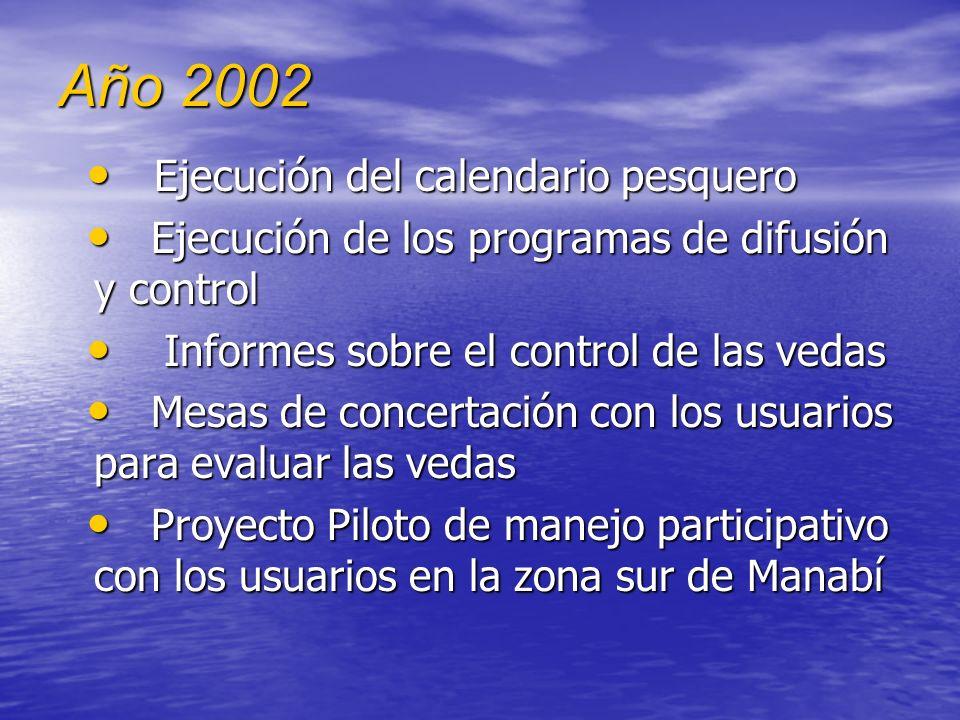 Año 2002 Ejecución del calendario pesquero