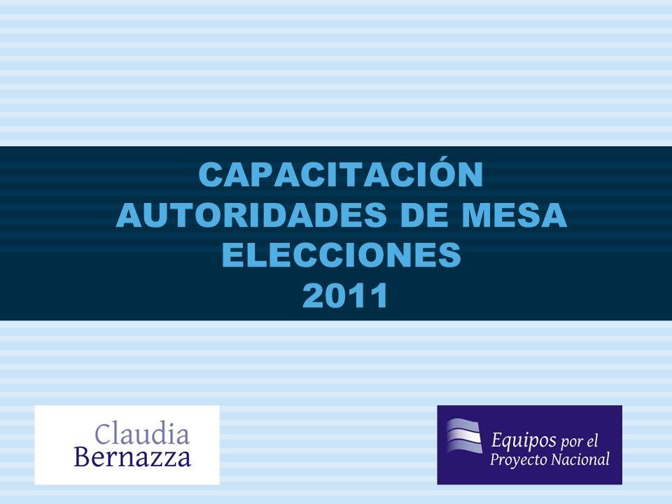 CAPACITACIÓN AUTORIDADES DE MESA ELECCIONES 2011