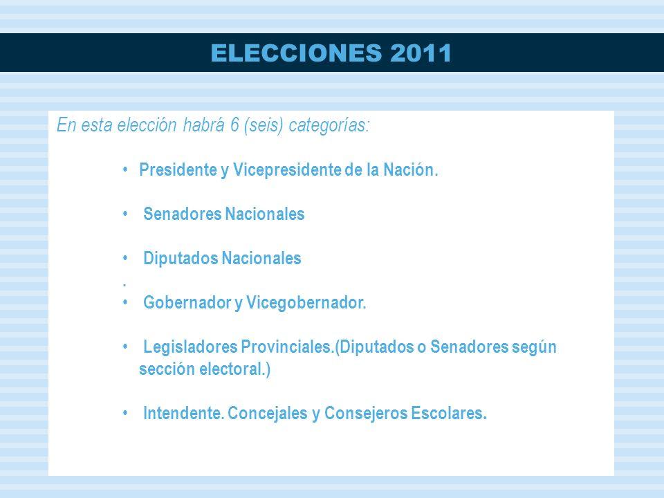 En esta elección habrá 6 (seis) categorías: