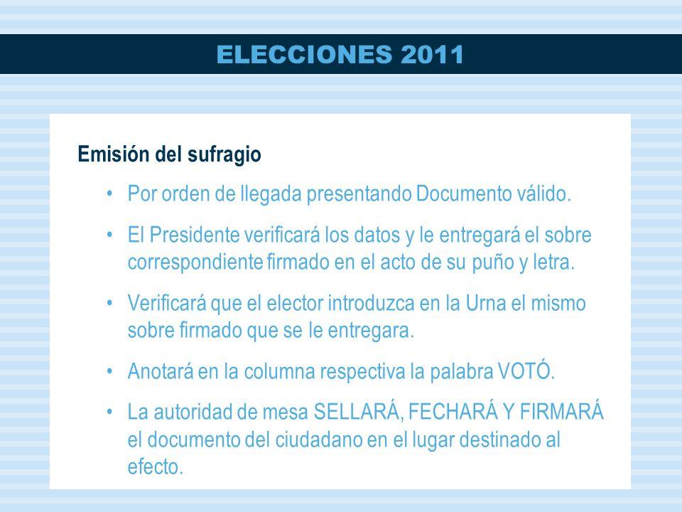 Emisión del sufragio Por orden de llegada presentando Documento válido.