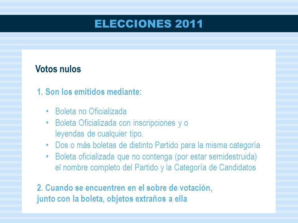 Votos nulos 1. Son los emitidos mediante: Boleta no Oficializada