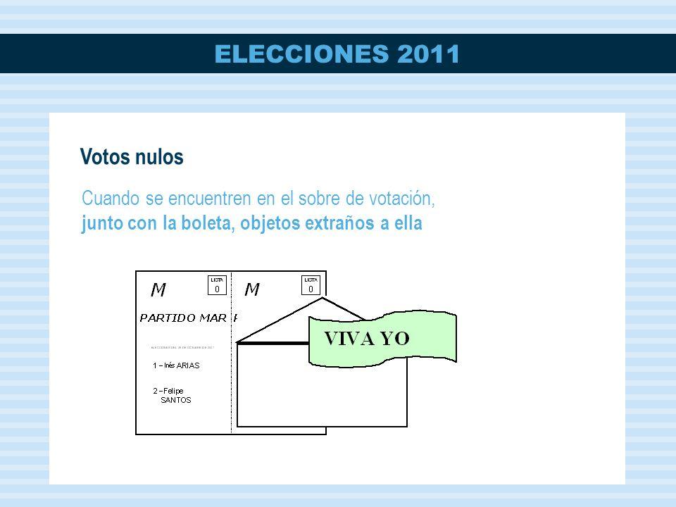 Votos nulos Cuando se encuentren en el sobre de votación, junto con la boleta, objetos extraños a ella.
