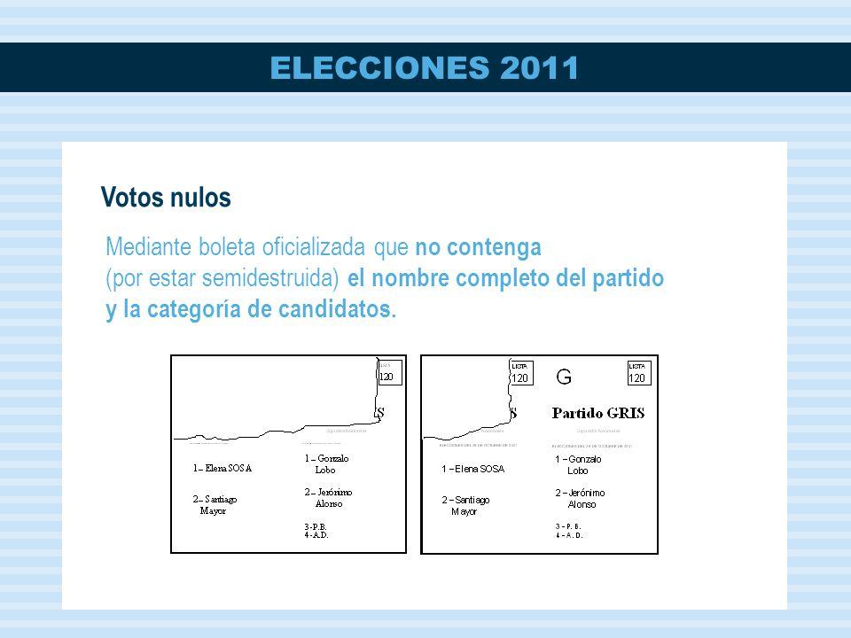 Votos nulos Mediante boleta oficializada que no contenga (por estar semidestruida) el nombre completo del partido y la categoría de candidatos.