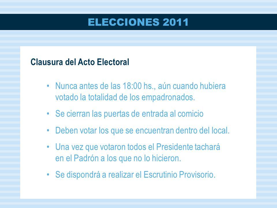 Clausura del Acto Electoral