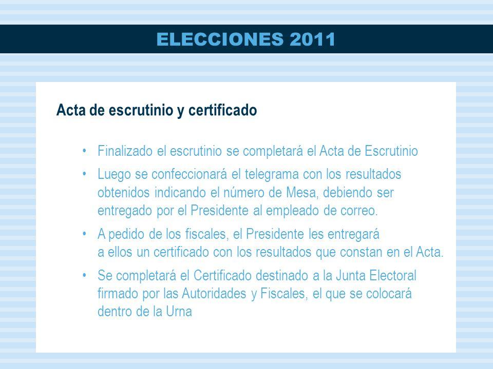 Acta de escrutinio y certificado