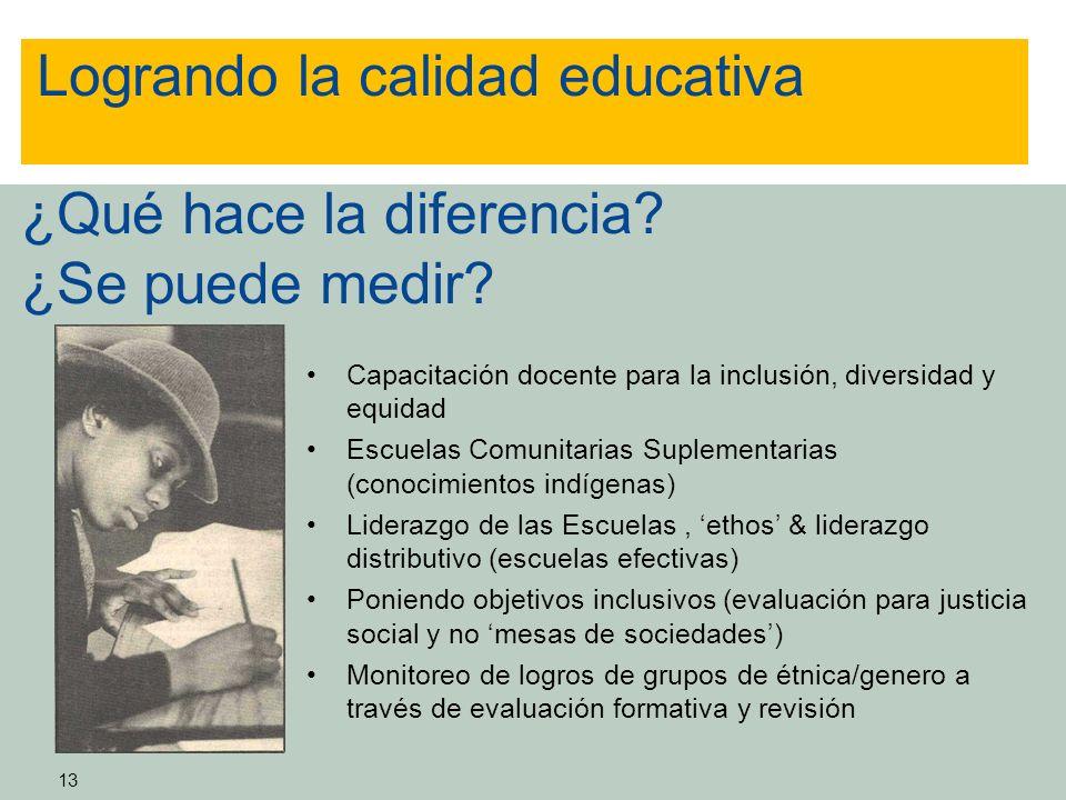 Logrando la calidad educativa ¿Qué hace la diferencia ¿Se puede medir