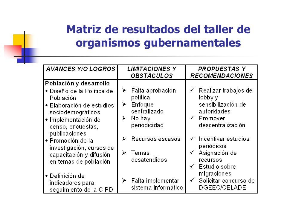 Matriz de resultados del taller de organismos gubernamentales