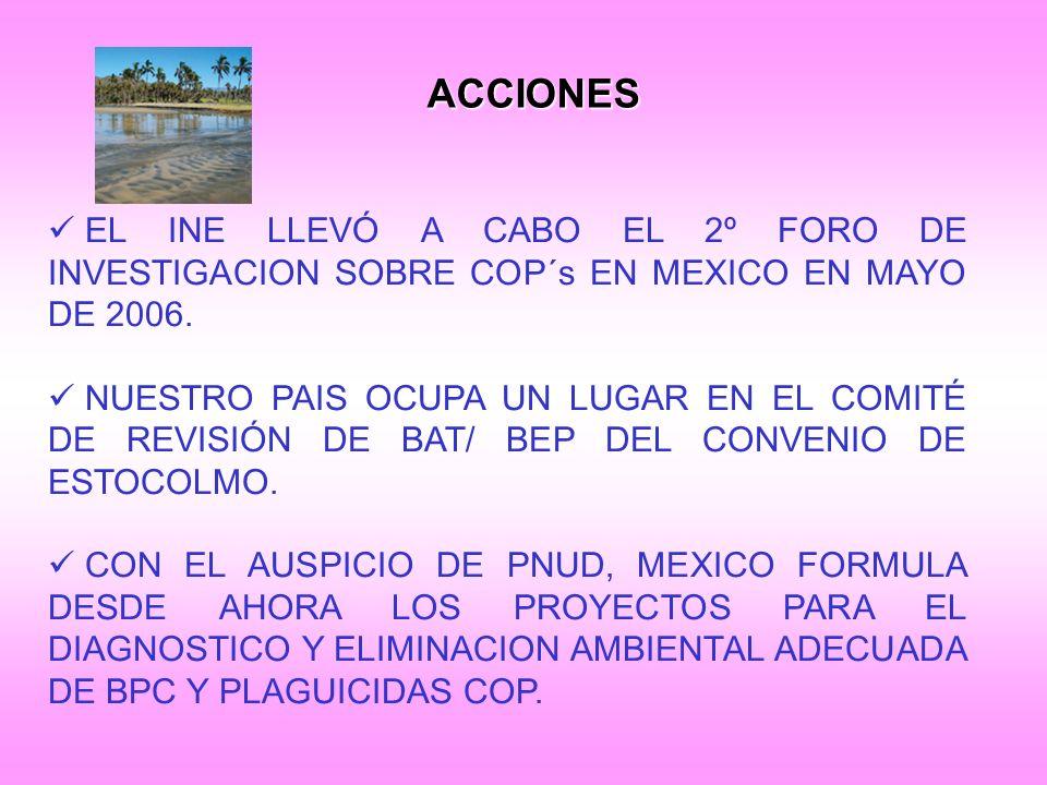 ACCIONES EL INE LLEVÓ A CABO EL 2º FORO DE INVESTIGACION SOBRE COP´s EN MEXICO EN MAYO DE 2006.