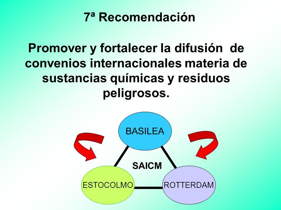 7ª Recomendación Promover y fortalecer la difusión de convenios internacionales materia de sustancias químicas y residuos peligrosos.