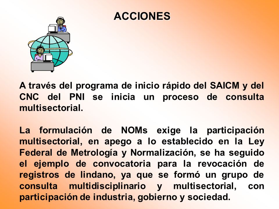 ACCIONES A través del programa de inicio rápido del SAICM y del CNC del PNI se inicia un proceso de consulta multisectorial.