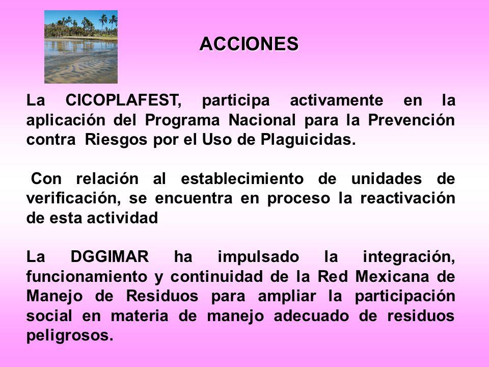 ACCIONES La CICOPLAFEST, participa activamente en la aplicación del Programa Nacional para la Prevención contra Riesgos por el Uso de Plaguicidas.