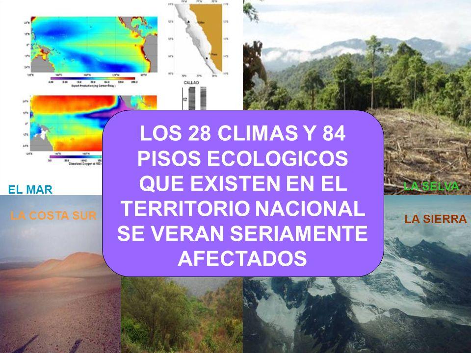LOS 28 CLIMAS Y 84 PISOS ECOLOGICOS QUE EXISTEN EN EL TERRITORIO NACIONAL SE VERAN SERIAMENTE AFECTADOS
