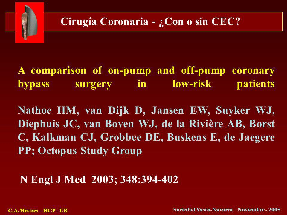 A comparison of on-pump and off-pump coronary bypass surgery in low-risk patients