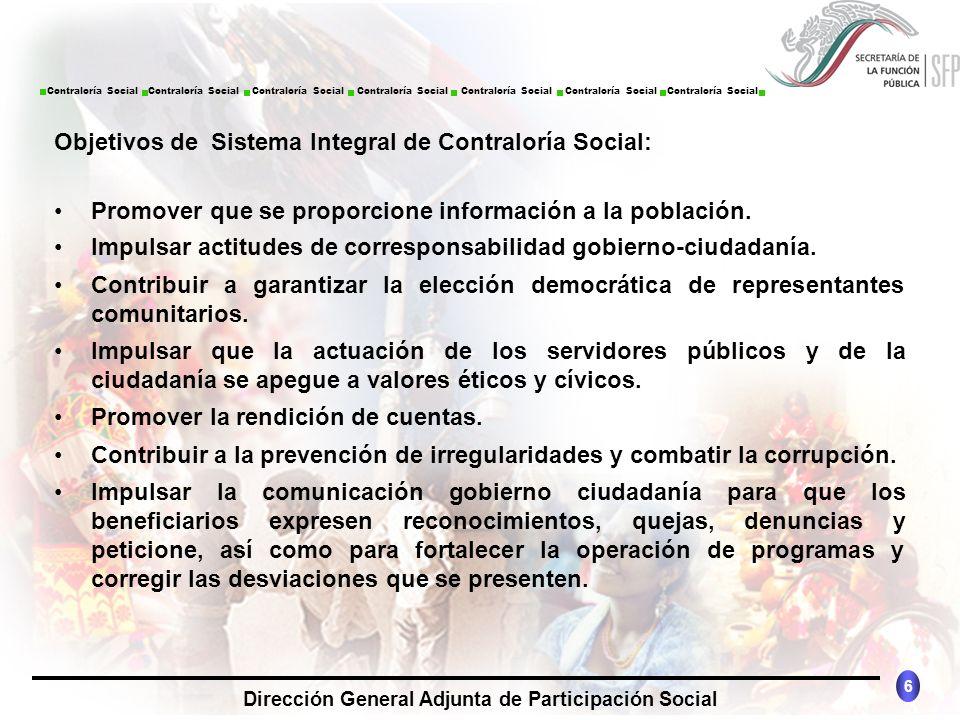 Objetivos de Sistema Integral de Contraloría Social: