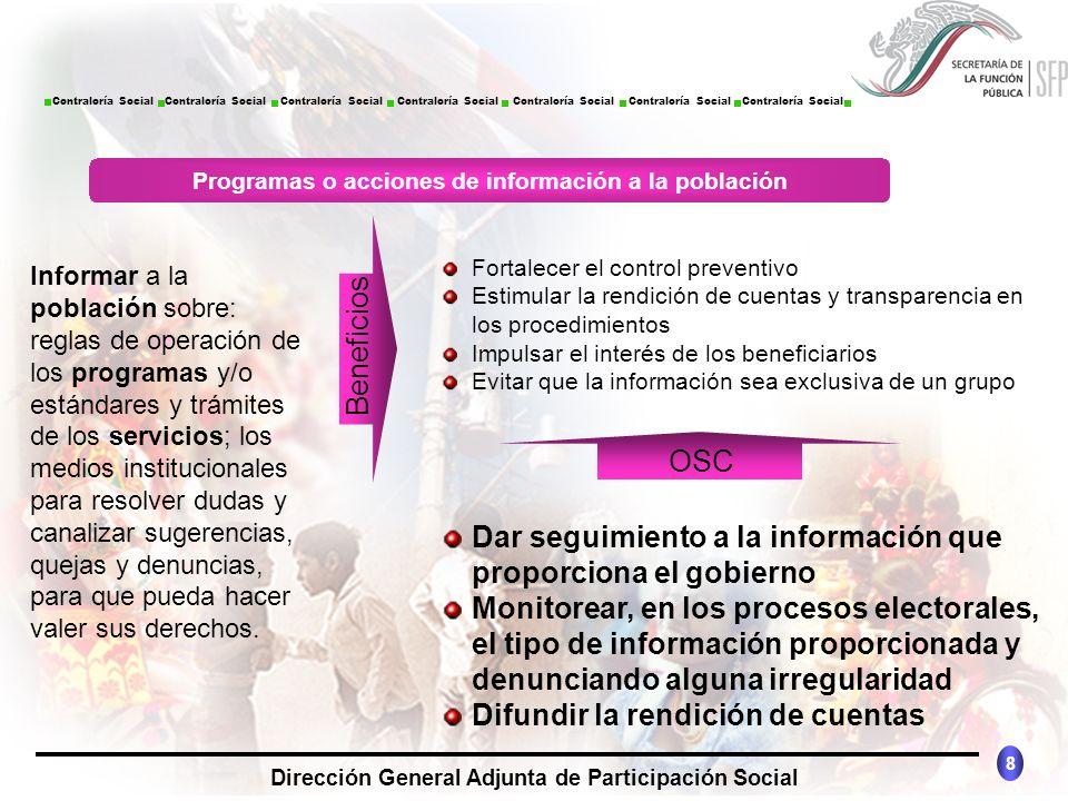 Programas o acciones de información a la población