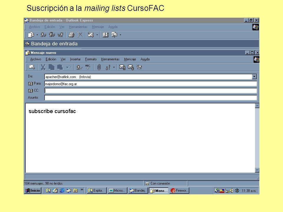 Suscripción a la mailing lists CursoFAC