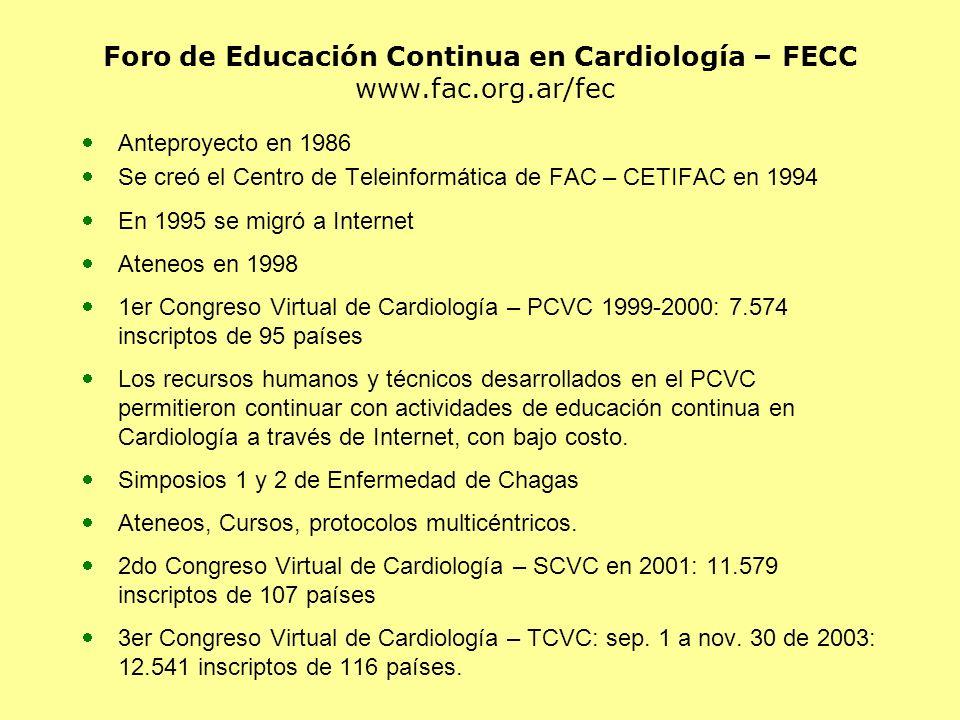 Foro de Educación Continua en Cardiología – FECC www.fac.org.ar/fec