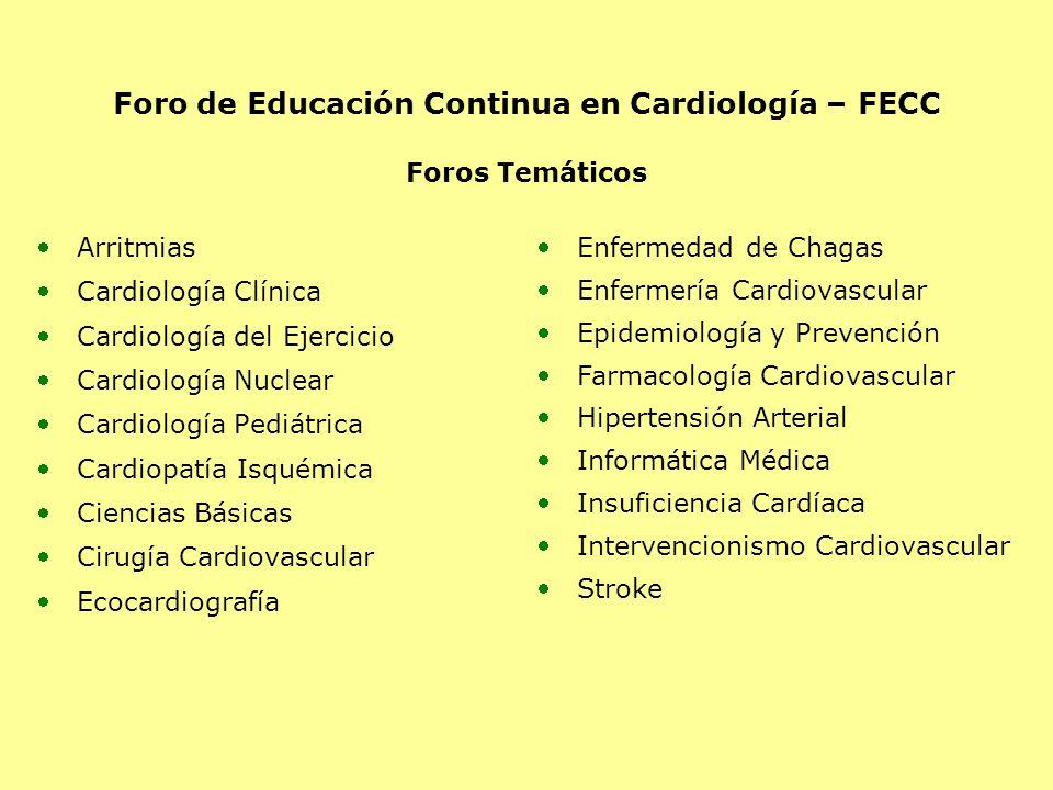 Foro de Educación Continua en Cardiología – FECC Foros Temáticos