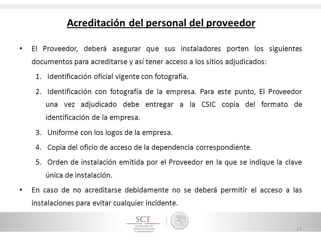 Acreditación del personal del proveedor