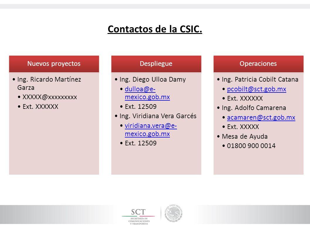 Contactos de la CSIC. Nuevos proyectos Ing. Ricardo Martínez Garza
