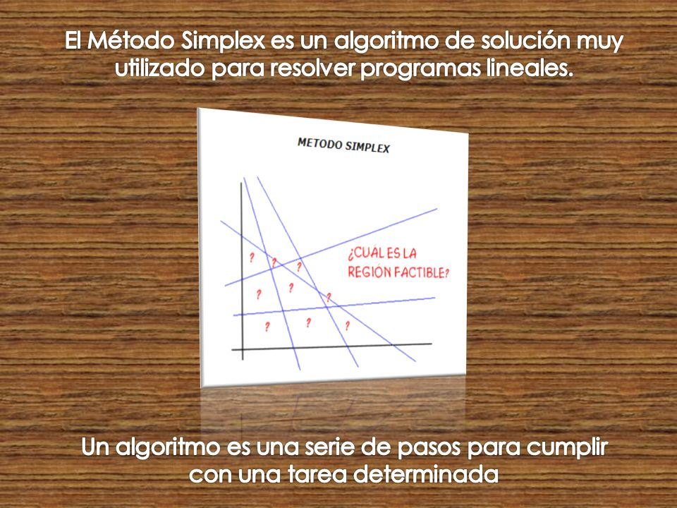 El Método Simplex es un algoritmo de solución muy utilizado para resolver programas lineales.