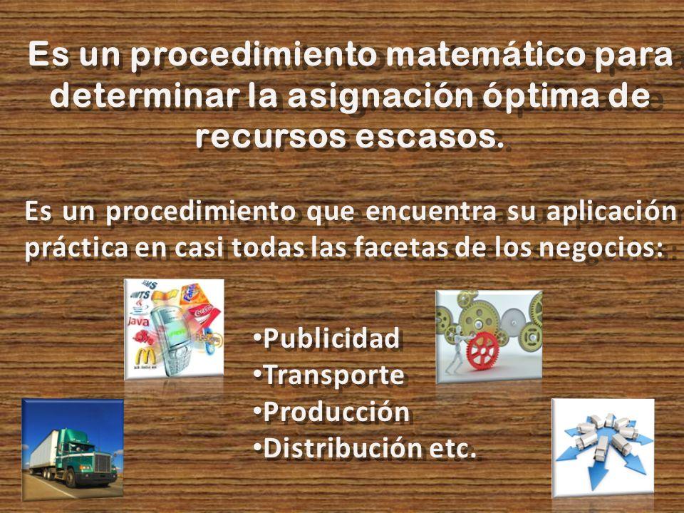 Es un procedimiento matemático para determinar la asignación óptima de recursos escasos.