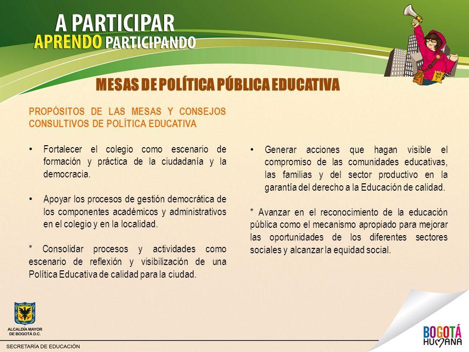 MESAS DE POLÍTICA PÚBLICA EDUCATIVA