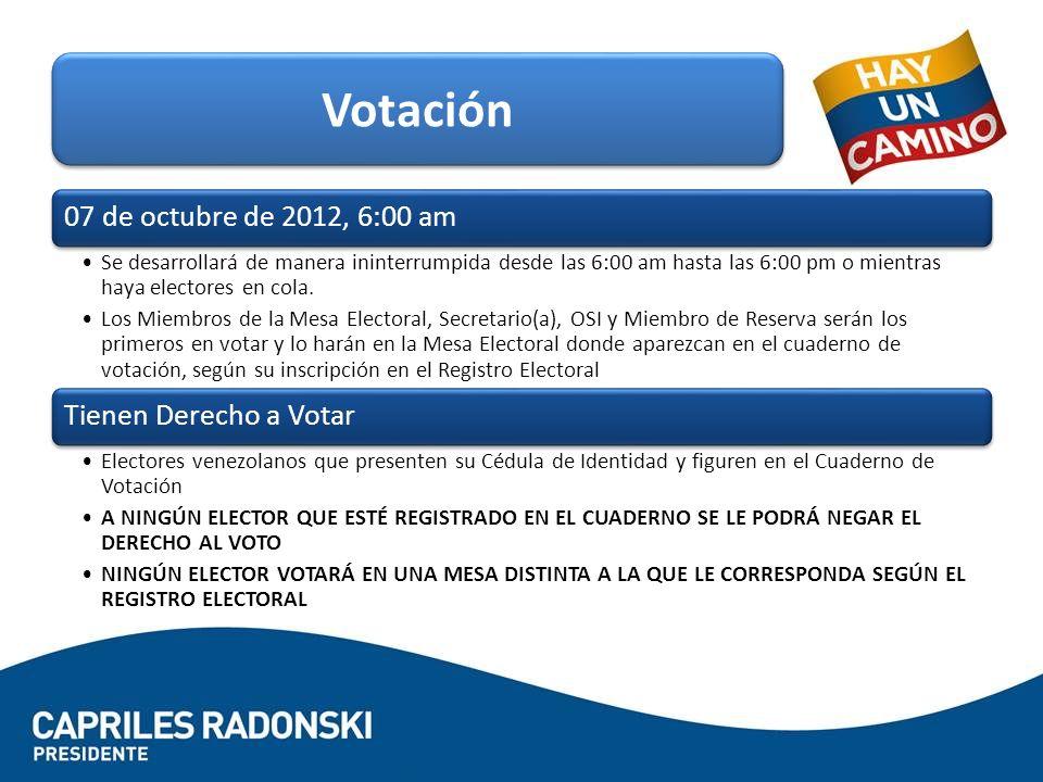 Votación 07 de octubre de 2012, 6:00 am Tienen Derecho a Votar