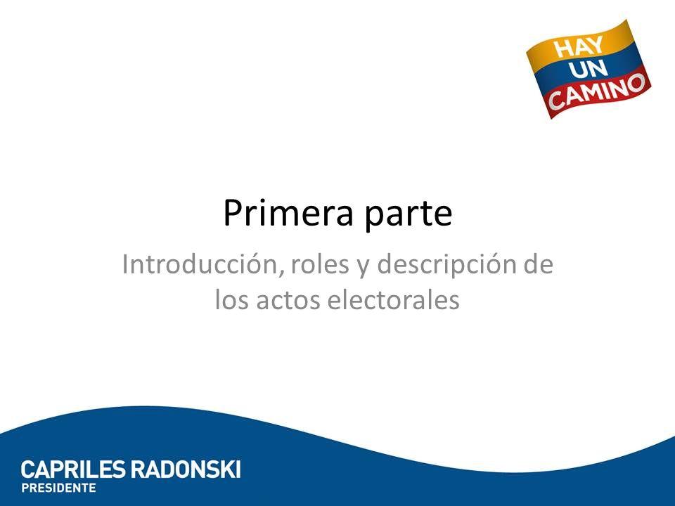 Introducción, roles y descripción de los actos electorales